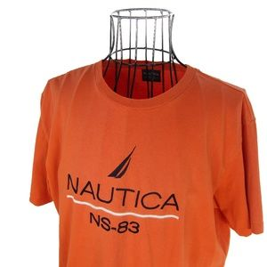 Vtg Nautica Embroidered Spellout T Shirt